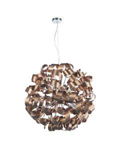 Dar RAW1264 Rawley 12 Light Ribbon Ceiling Light Brushed Copper