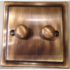 TAB12 Trimline 2 Gang 400w Dimmer Switch - Antique Bronze