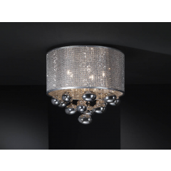 Andromeda 5 Light Flush Ceiling Light with Vinyl Shade With Chromed Punch Mesh Finish 174213