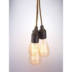 Coughton 3 Light Cluster Pendant With Old Gold Twisted Flex