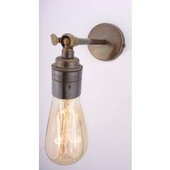 Old English Brass Long Straight Arm Wall Light With Plain Lampholder - Fladbury