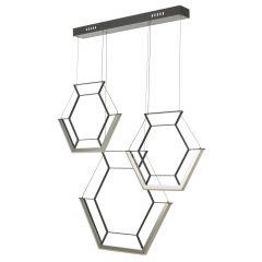 Hexagon LED 3 Light Bar Pendant - Black HEX0322