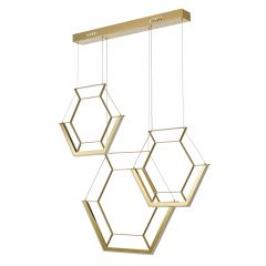 Hexagon LED 3 Light Bar Pendant - Gold HEX0335