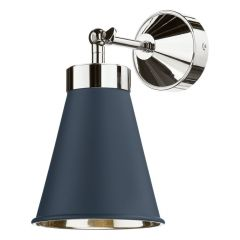 Smoke Blue Hyde Single Wall Light With Chrome Inner HYD0723C