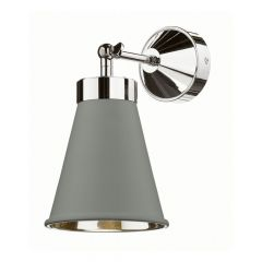 Powder Grey Hyde Single Wall Light With Chrome Inner HYD0739C