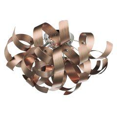 Rawley 4 Light Ribbon Flush Ceiling Light in Brushed Copper RAW0464