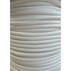 White Round Braided 3 Core Flex In 1 Metre Lengths